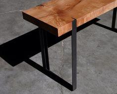Angle iron mortised into bench