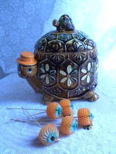 Turtle cookie jar, vintage Marks and Rosenfeld cookie jar. $37.00, via Etsy.