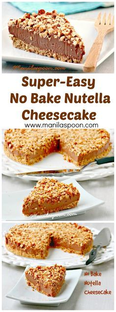 Totally luscious EASY NO BAKE NUTELLA CHEESECAKE - this is what cheesecake dreams are made of! Perfect for Thanksgiving, Christmas or any holiday dessert table!   manilaspoon.com