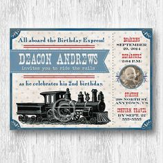 Vintage Train Invitation for Boys Birthday Party or Baby Shower DIY Photo Printable Invite by BeeAndDaisy