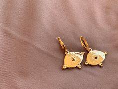 Gold Hoop Earrings with Evil Eye Charm, Greek Lucky Evil Eye, Ancient Greece, Minimalist Earrings, Everyday Jewelry Gold Hoop Earrings, Gold Hoops, Drop Earrings, Evil Eye Jewelry, Evil Eye Charm, Polymer Clay Beads, Minimalist Earrings, Stainless Steel Chain, Ancient Greece