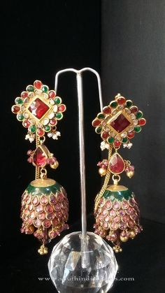 Latest Indian Jhumka Design, Latest Model Indian Jhumka Designs, Gold Stone Jhumka Designs.
