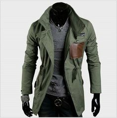 Free Shipping,New Korean Fashion,Leather Pocket,Cool Mens Vintage Zip Jacket Blazer,Slim Fit Coat,3 COLOR,ASIAN:M-XXL,FJ1011 on AliExpress.com. $45.00