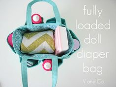 Stocked Diaper Bag- Super cute! Making this for the girls for Christmas! Give some homemade doll diapers with it too.