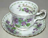 Royal Albert February Tea Cup-Saucer Violets Bone China Flower of the Month Series