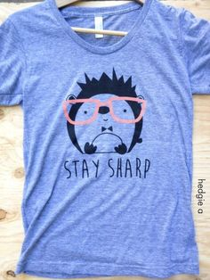 "Geeky & Proud Hedgehog T-Shirt :: ""Stay sharp"" with this American Apparel triblend athletic grey hedgehog t-shirt."