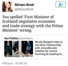 Nicola Sturgeon tries to out-shoe Theresa May with crocodile-skin stilettos for crunch Downing St meeting ~ You spelled 'First Minister of Scotland negotiates economic and trade strategy with the Prime Minister' wrong. Pray For Venezuela, Cultura General, All That Matters, Intersectional Feminism, Pro Choice, Patriarchy, Equal Rights, Faith In Humanity, Statements