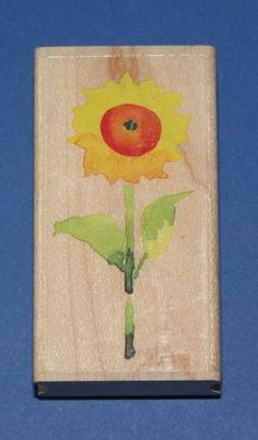 NEW Inkadinkado Mini Sunflower Wooden Backed Rubber Stamp Mini Sunflowers, Flower Quotes, Mothers Day Crafts, Flower Power, Stamps, March, Detail, Painting, Ebay