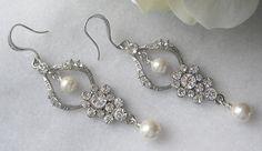 Rhinestone Earrings Chandelier Earrings Bridal by TheRedMagnolia, $52.00