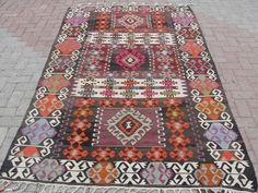 "Turkish Handwoven Kilim Rug Natural Wool 59"" x 101""   eBay"