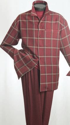 Men's Long Sleeve 2pc Walking Suit with Heathered Plaid Shirt and Solid Color Wide Leg Pants.