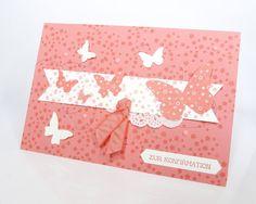 Konfirmationskarte mit Schmetterlingen in Flamingorot. www.stempelitis.de
