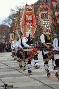 An ancient Bulgarian tradition - kukeri dancing, said to chase the bad spirits away