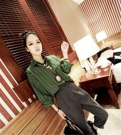 Spring Korean Version Retro Classic Plaid Shirt Lapel Short Sleeve ShirtGreen YH15041813.http://www.clothing-dropship.com