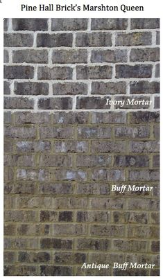 One brick color three different mortar colors = dramatic difference. Pine Hall Brick's Marshton Queen (shown). Exterior House Colors, Exterior Paint, Exterior Design, Brown Brick, Grey Brick, Brick And Mortar, Brick And Stone, Christmas House Lights, Christmas Porch