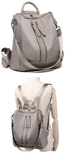 ae586f9e6c40 Elegant Waterproof Double Zipper PU Multi-function Handbag Large School  Backpack  backpack  Bag