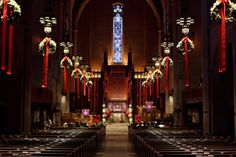 Home or Church, Christmas celebrations seem to revolve around the adornments. Meaning, it's time for us to let the creative juices flow. While there's no hard and fast rule to … Christmas Ceiling Decorations, Altar Decorations, Festival Decorations, Beautiful Christmas Trees, Christmas Fun, Christmas Wreaths, Xmas, Church Interior Design, Church Banners