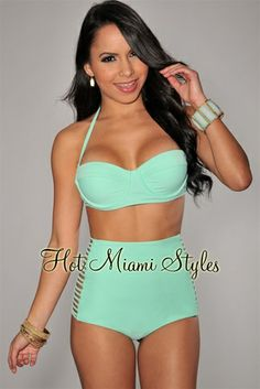 Mint Green High-Waist Strappy Bikini. Want this. High waisted, mint green, good boob support... All the things i want in my next swim suit. Love love love.