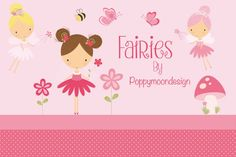 Pink Garden fairies By Poppymoon Design