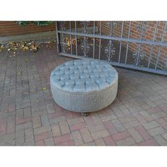 Large Round Upholstered Ottoman Diamond Tufted Coffee Table Ottoman in... ($245) ❤ liked on Polyvore featuring home, furniture, ottomans, chairs & ottomans, grey, home & living, living room furniture, round tufted cocktail ottoman, tufted ottoman and round cocktail ottoman