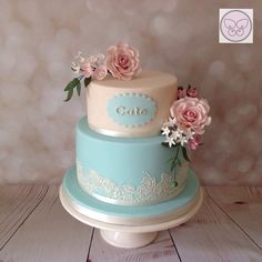 Ivory & Tiffany Blue Two Tier Cake with Pink Roses