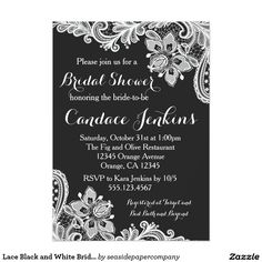 Lace Black and White Bridal Shower invitation