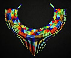 Colorful Aztec Bib Necklace Native by BiuluArtisanBoutique on Etsy Seed Bead Necklace, Seed Beads, Diy Necklace Patterns, Native American Beading, Crochet Art, Beaded Choker, Tribal Fashion, Bead Art, Bead Weaving