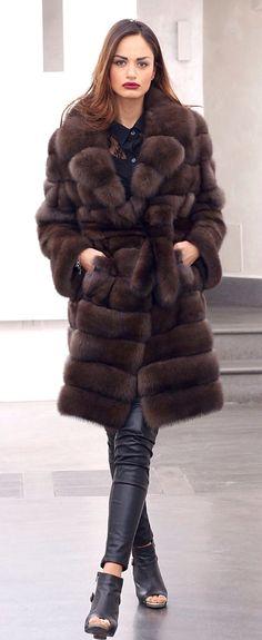 Russian Barguzin Sable Fur Belted Coat