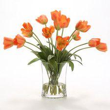 Silk Bittersweet Tulips in Pillow Vase