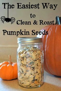 With every jack-o-lantern comes an excess of pumpkin seeds. Flour On My Face has easy instructions to clean and roast pumpkin seeds. It's a simple, tasty snack for the fall season! Pumpkin Recipes, Fall Recipes, Holiday Recipes, Snack Recipes, Cooking Recipes, Pumpkin Guts Recipe, Vegan Pumpkin, Holiday Treats, Halloween Treats