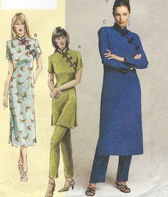 Sandra Betzina Womens Cheongsam  Dress, Tunic and Pants OOP Vogue Sewing Pattern 7747 Size 24 26 28 30 Bust 46 49 52 55 UnCut