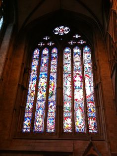 Stained glass window in Hereford Cathedral