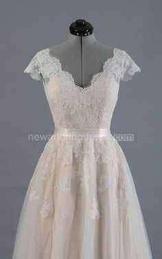 Cap Sleeve V-Neck Lace Wedding Dress With Tulle Skirt and V-Back - NewAdoringDress