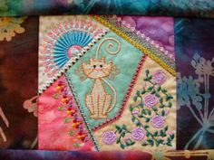 crazy quilt embroidered quilt block machine by loonlandlinens, $10.00