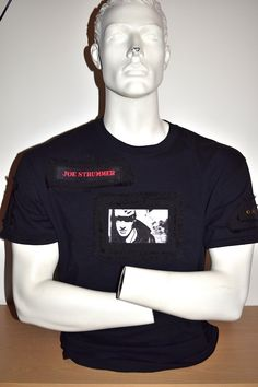 Clash, Joe Strummer, custom made, hand crafted t-shirt by MoNkA. Stunning sublimation prints onto velvet fabric and black frayed fabric patches.  Includes design features with eyelets. https://www.facebook.com/monka.rocks/