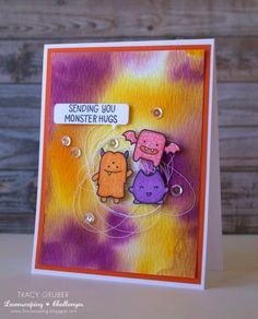 Tracy Mae Design: Monster Hugs || Lawnscaping Challenge, Lawn Fawn, Distress Stain