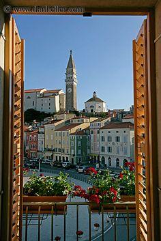 clock tower-Piran, Slovenia through a window Montenegro, Wonderful Places, Beautiful Places, Saint Marin, Travel Around The World, Around The Worlds, Window View, Central Europe, Eastern Europe