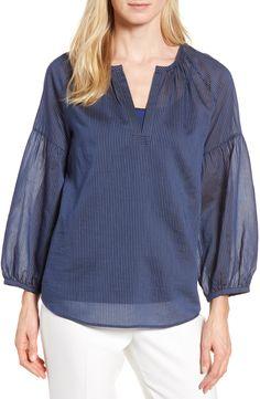 55259b7f1147b New Arrivals Nordstrom Signature Stripe Cotton Silk Top BLACK online