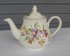 Vintage Teapot - Arthur Wood and Son Staffordshire English China - Fruit Pattern - No 6408