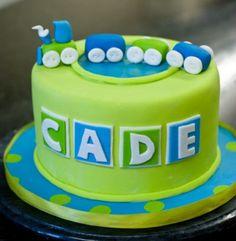 Google Image Result for http://www.cakepicturegallery.com/d/63912-1/Green%2Bround%2Btoy%2Btrain%2Btheme%2Bbirthday%2Bcake%2Bfor%2Bboy.JPG