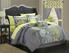 Chic Home 20-Piece Olivia Reversible Comforter Set, King, Yellow/Grey. #LuxBed
