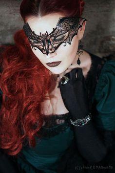Gothic Black Bat Women Venetian Style Metal Laser Cut Masquerade Mask w/ Aurora Borealis Rhinestones Dark Beauty, Gothic Beauty, Hidden Beauty, Art Zombie, Bat Mask, Batman Wedding, Geek Wedding, The Ghostbusters, Beautiful Mask