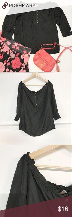 Medium Juicy Couture black blouse Medium Juicy Couture black blouse with gold apple shaped buttons. excellent condition,  Material Silk length 24 inch pit to pit 20 inch Juicy Couture Tops Blouses