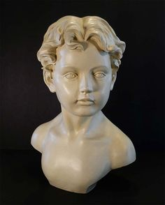 Large Statue Bust of Boy Creamy White by Vinylpie on Etsy