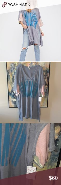 Free People Oversized Tee NWT SZ L. No flaws. Deep side vents. Says : Arizona Grand Canyon. Free People Tops Tunics