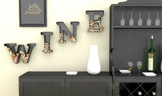 "Wine Letter Cork Holder Art Wall Décor - Metal - All 4 Letters W I N E - Includes Silicone Wine Glass Coaster and ""50 Shades"" Wine Charm - by HouseVines  #winegiftidea"