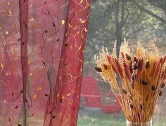 Floral Vine Brushes Embroidered Organza Sheer Curtains & Panels - Find Curtains & Drapes on the line Sheer Curtain Panels, Grommet Curtains, Sheer Curtains, Scarf Curtains, Scarlett Dresses, Brushed Metal, Red Wine, Vines, Brushes