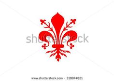 Flag of Florence vector illustration. Coat of arms of Florence - Tuscany, vector illustration. The fleur de lis of Florence, symbol of Florence, Italy,heraldic, seal vector.