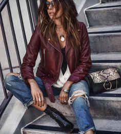 red wrap top, black cami or bralette, black leather jacket Leather Jacket Outfits 2020 Jean Jacket Outfits, Leather Jacket Outfits, Jacket Style, Moto Style, Moda Rock, Look Fashion, Fashion Outfits, Trendy Fashion, Fashion Clothes