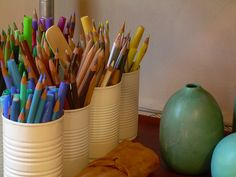4 Clever Ways to Reuse Tin and Aluminum Cans - DIY Inspired Painted Tin Cans, Paint Cans, Aluminum Cans, Pencil Cup, Repurposed Items, Recycled Cans, Chalkboard Paint, Organizing Your Home, Organization Hacks
